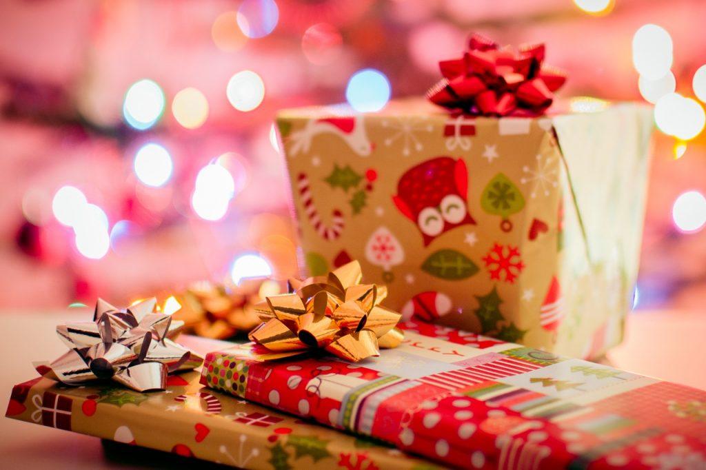 Three Presents Christmas Postcard